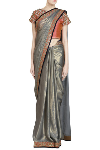 Grey Shimmer Saree with Gota Work and Peach Accent - The Ethnic Fix - Dubai - UAE