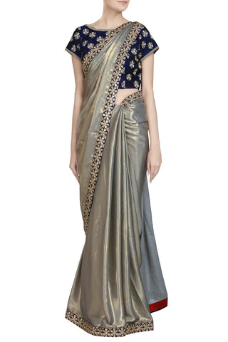 Grey Shimmer Saree with Gota Work and Blue Accent - The Ethnic Fix - Dubai - UAE