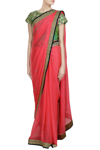 Peach Saree with Gota Work - The Ethnic Fix - Dubai - UAE