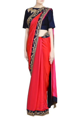 Crimson Crepe Saree with Zari Work Border - The Ethnic Fix - Dubai - UAE