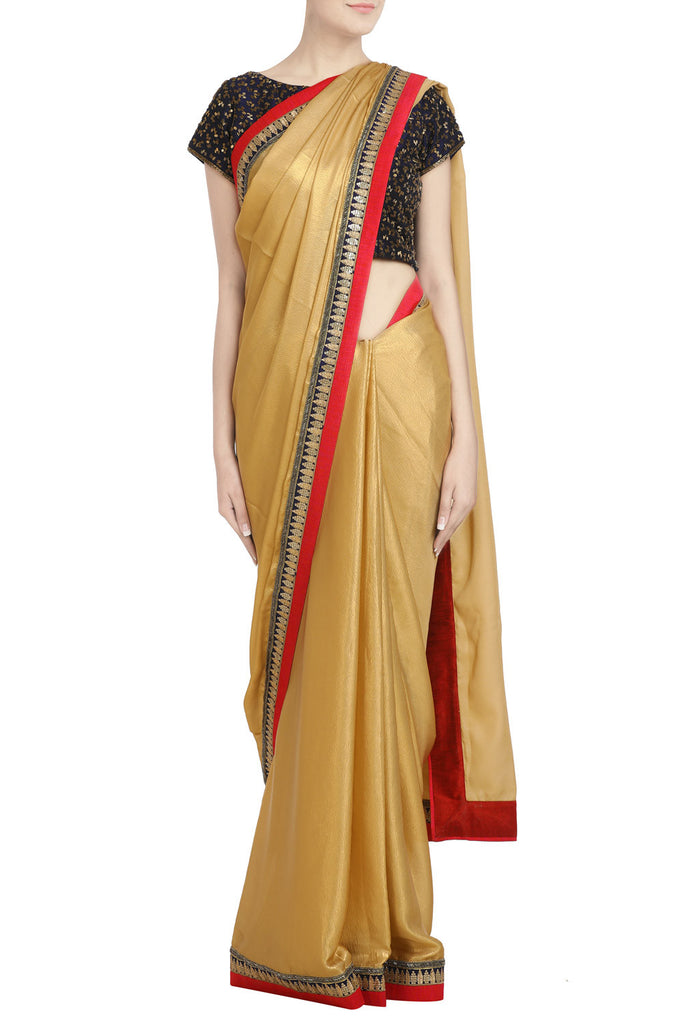 Golden Shimmer Saree with Sequin and Cutdana Work - The Ethnic Fix - Dubai - UAE