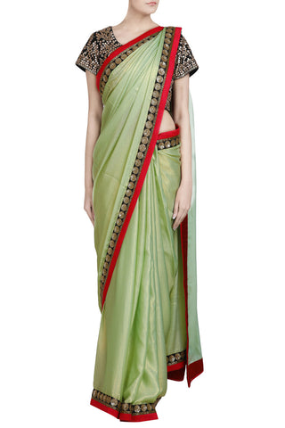 Mint Green Shimmer Saree with Sequin Work Border - The Ethnic Fix - Dubai - UAE