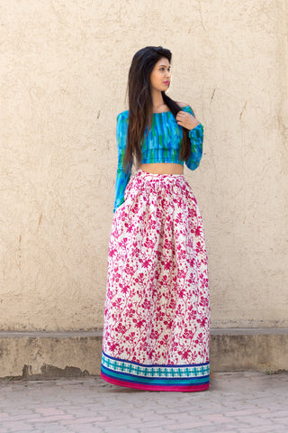 Pink Floral Skirt and blue top