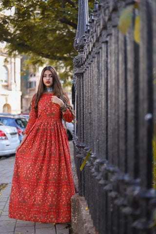Red Mughal Maxi – The Ethnic Fix - Dubai - UAE