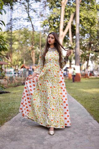 Orange Floral Maxi – The Ethnic Fix - Dubai - UAE