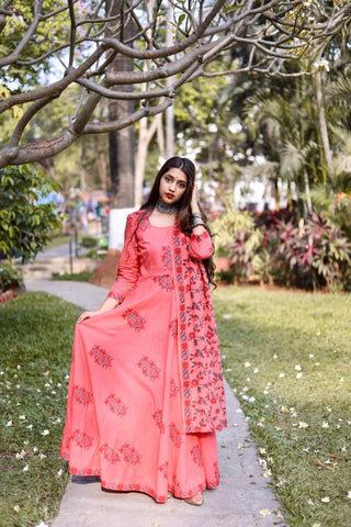 Peach Anarkali with Dupatta  – The Ethnic Fix - Dubai - UAE