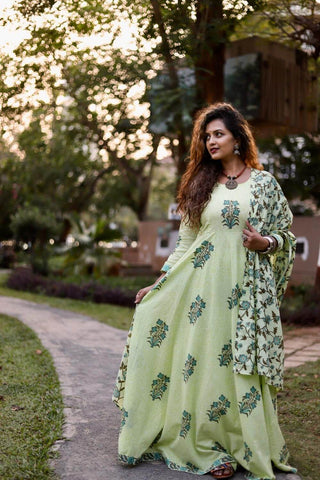 Green Ankarkali with Dupatta - The Ethnic Fix - Dubai - UAE