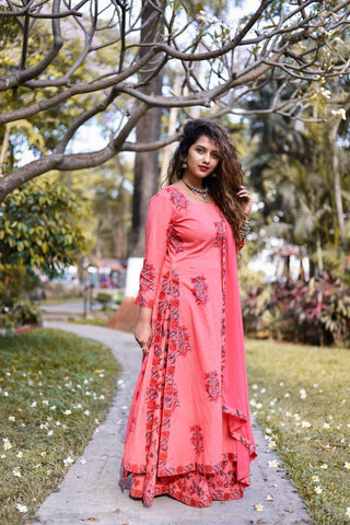 Peach Kalidar Sharara set  – The Ethnic Fix - Dubai - UAE