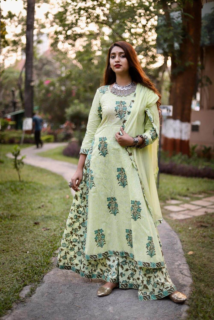 Green Kalidar Sharara set  – The Ethnic Fix - Dubai - UAE