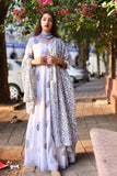 Blue Grey Anarkali with Dupatta - The Ethnic Fix - Dubai - UAE