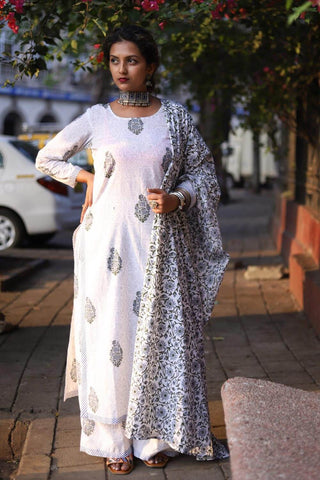 Blue Grey Kurta Palazzo set with Dupatta - The Ethnic Fix - Dubai - UAE