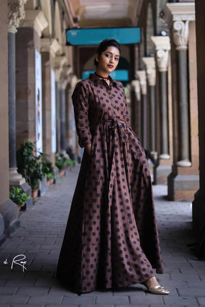Brown Polka Flared Maxi - The Ethnic Fix - Dubai - UAE