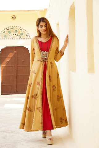 Beige Jute Cotton Fit & Flare Jacket with Rasberry Cut Sleeves Maxi