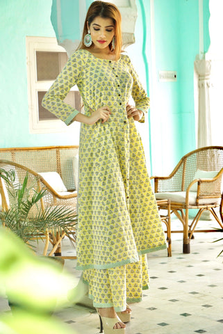 Lemon Kalidar Sharara Set
