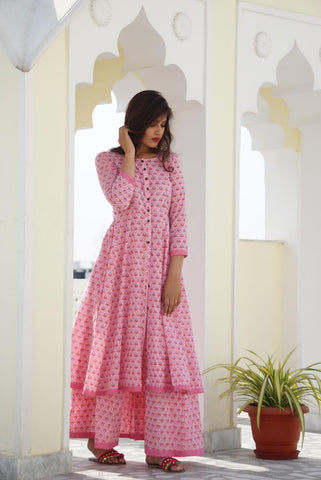 Pink Kalidar Sharara Set - The Ethnic Fix - Dubai - UAE
