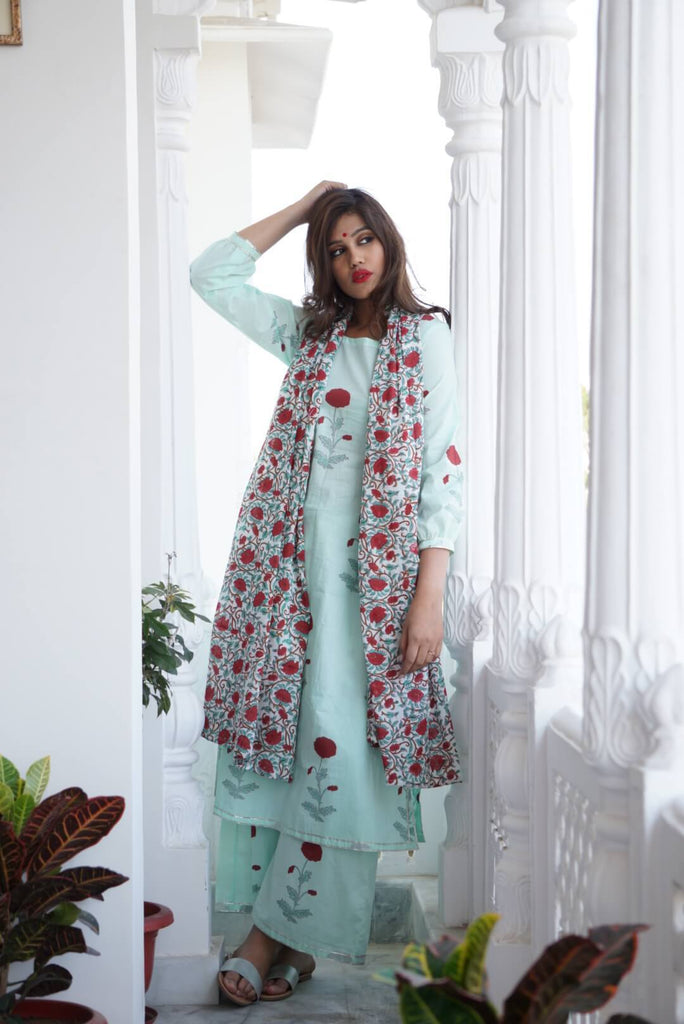 Sea Green Kurta Palazzo with Dupatta - The Ethnic Fix - Dubai - UAE