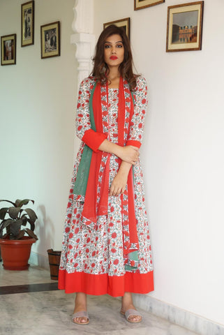 Red Border Maxi with Dupatta - The Ethnic Fix - Dubai - UAE