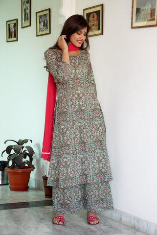 Earth Green Kurta Palazzo set with Palazzo set & Dupatta - The Ethnic Fix - Dubai - UAE