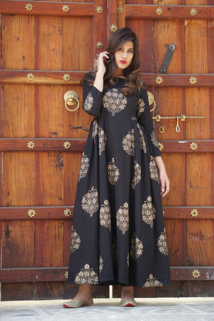 Black Gold Print Maxi - The Ethnic Fix - Dubai - UAE