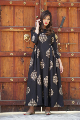 Black Gold Print Maxi- The Ethnic Fix - Dubai - UAE