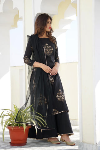 Black Gold Print Kurta Sharara set with Dupatta- The Ethnic Fix - Dubai - UAE