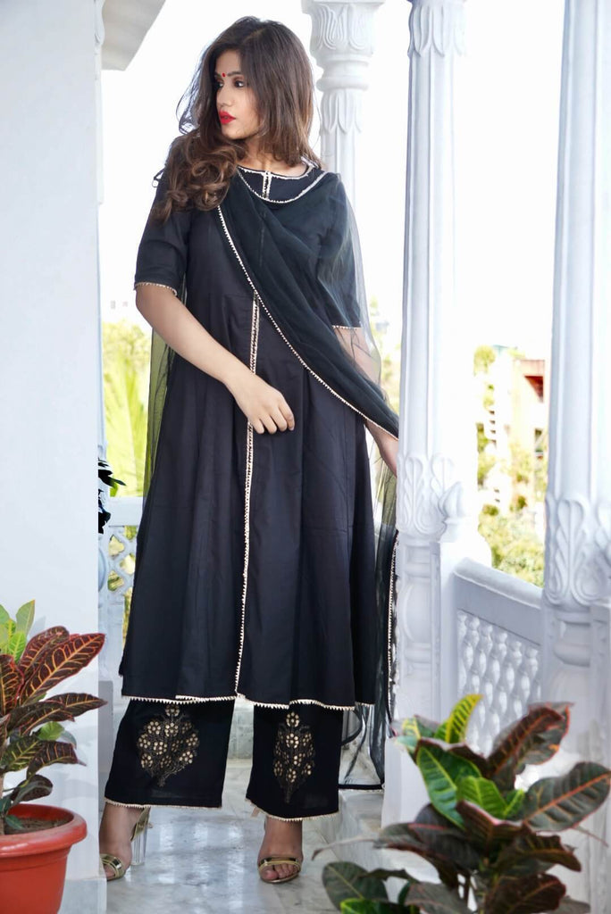 Black Kalidar top with Gold Print Palazzo & Dupatta - The Ethnic Fix - Dubai - UAE