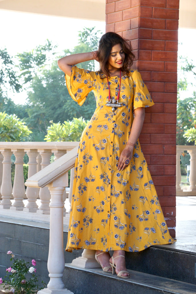 Mustard Floral Print Button Down Maxi