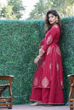 Maroon Gold Print Kurta Sharara set with Dupatta