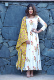 Mughal Motif Block Printed Flair Anarkali with Contrast Cotton Dupatta