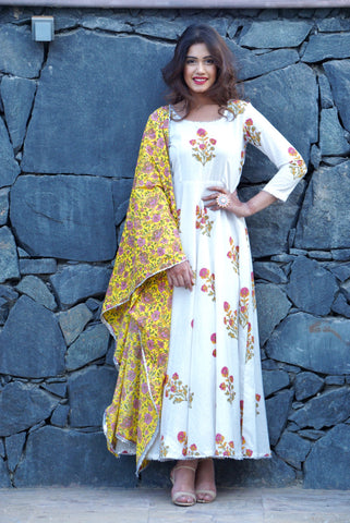 Mughal Motif Block Printed Flair Anarkali with Contrast Cotton Dupatta - The Ethnic Fix - Dubai - UAE