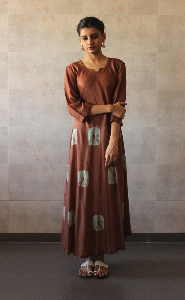 Brown Mint Bandhej Dress - The Ethnic Fix - Dubai - UAE