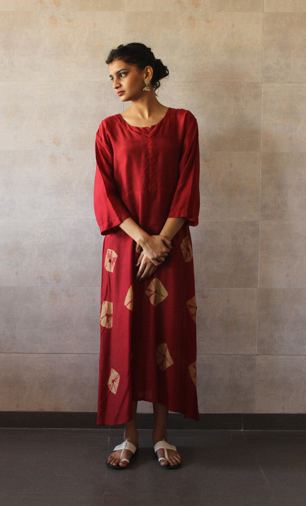 Red Yoke Bandhej Dress - The Ethnic Fix - Dubai - UAE