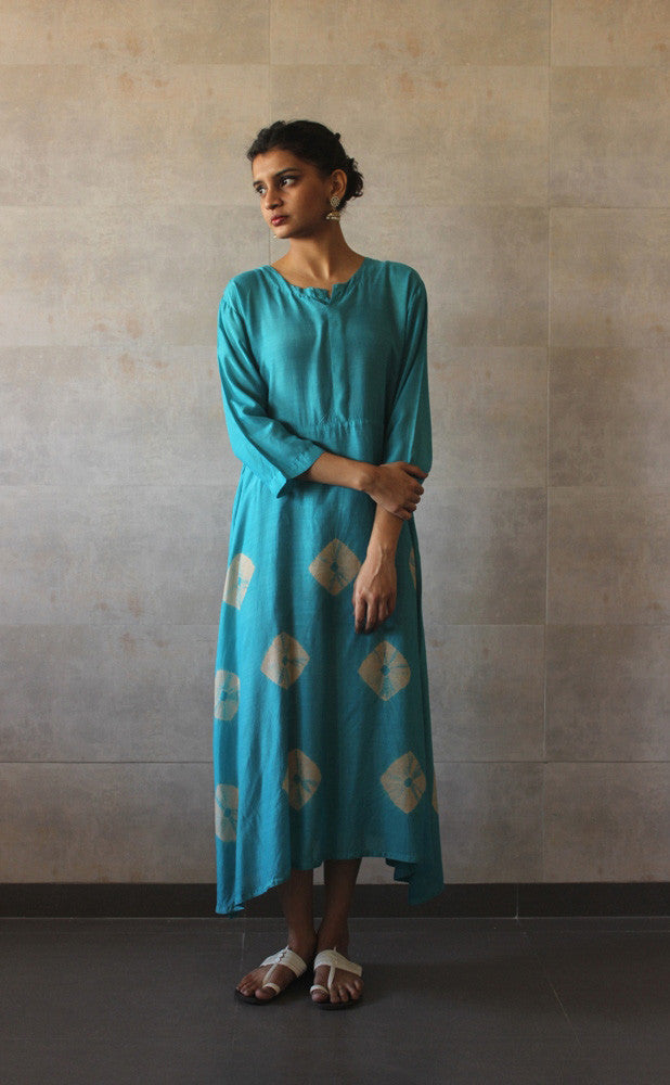 Turqouise Yoke Bandhej Dress - The Ethnic Fix - Dubai - UAE