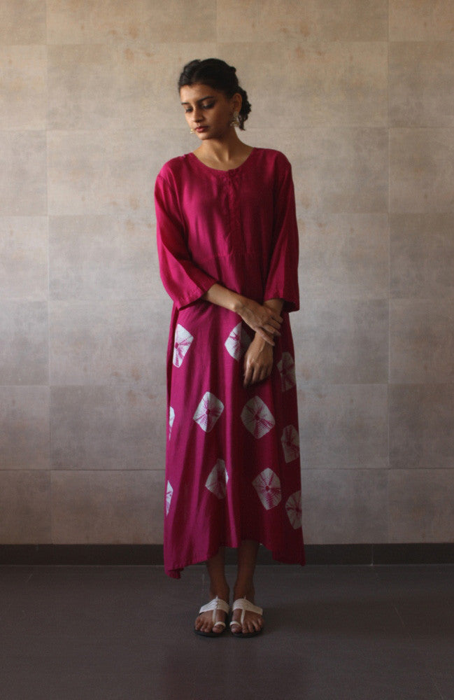 Pink Yoke Bandhej Dress - The Ethnic Fix - Dubai - UAE