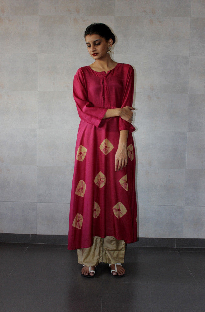 Rust Yoke Bandhej dress - The Ethnic Fix - Dubai - UAE