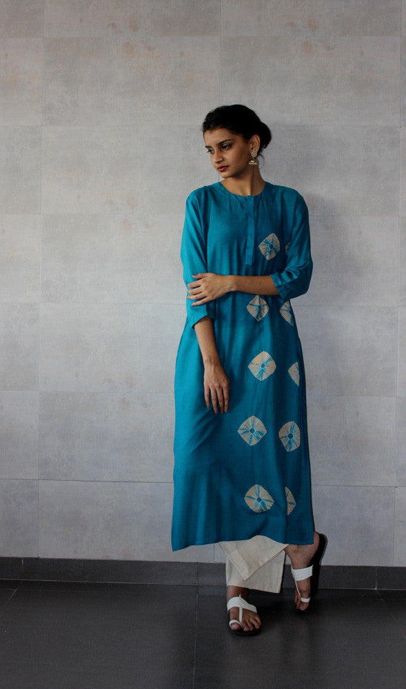Turqouise Bandhej Straight Tunic - The Ethnic Fix - Dubai - UAE