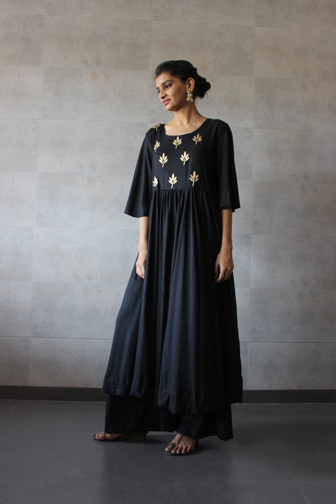 Black Pleated Cotton Kurta-Palazzo Set - The Ethnic Fix - Dubai - UAE