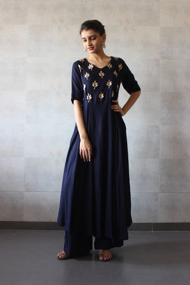 Navy Blue Box Pleated Cotton Kurta-Palazzo Set