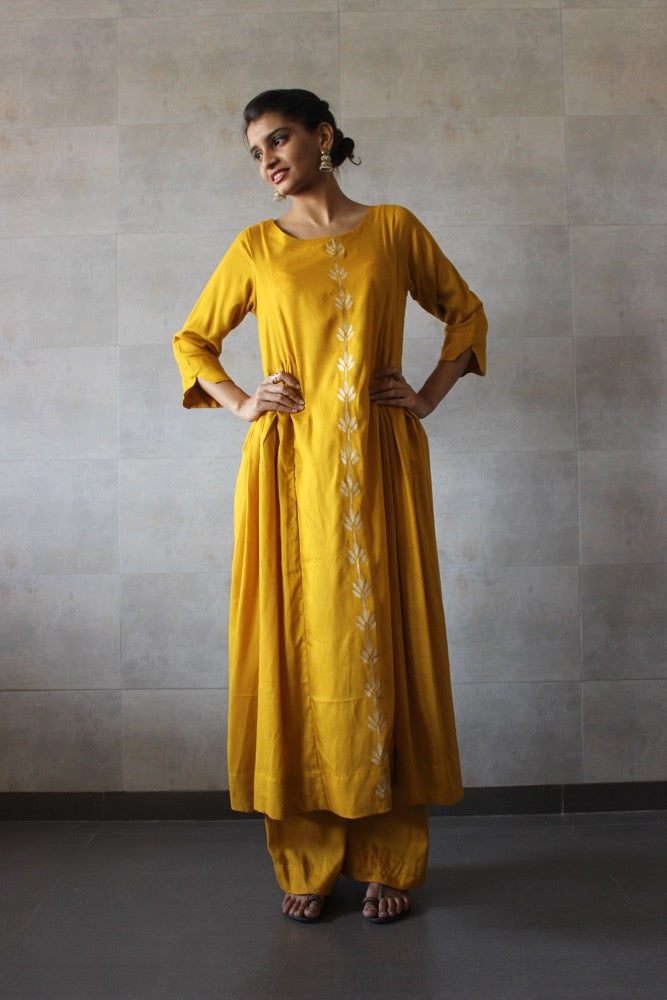 Mustard Side Pleated Cotton Kurta-Palazzo Set - The Ethnic Fix - Dubai - UAE