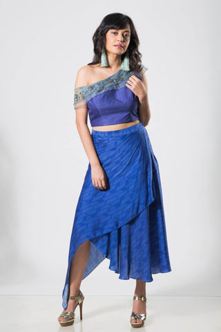 Blue Offshoulder Croptop with Skirt - The Ethnic Fix - Dubai - UAE
