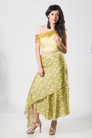Limegreen Offshoulder Croptop with Skirt - The Ethnic Fix - Dubai - UAE