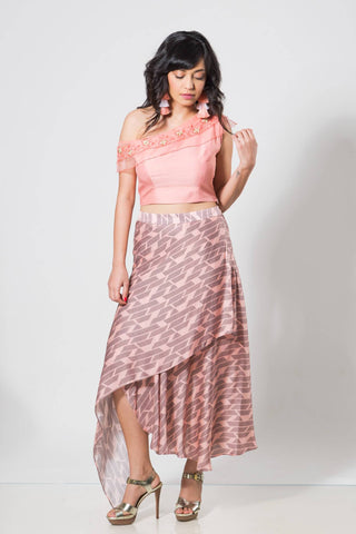 Peach Offshoulder Croptop with Skirt - The Ethnic Fix - Dubai - UAE