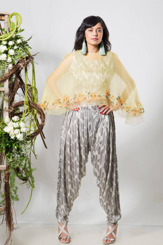 Lemon Yellow Double Layer Organza Cape with Black & White Crop Top & Dhoti - The Ethnic Fix - Dubai - UAE