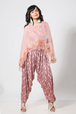 Peach Double Layer Organza Cape with Crop Top & Dhoti - The Ethnic Fix - Dubai - UAE