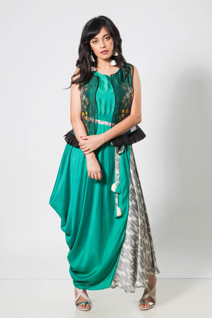 Green Drape Dress with Black Organza Jacket - The Ethnic Fix - Dubai - UAE