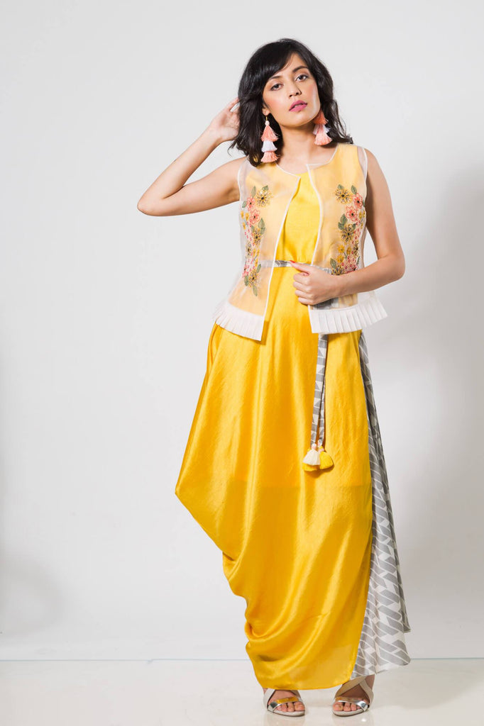 Yellow Drape Dress with White Oraganza Jacket - The Ethnic Fix - Dubai - UAE