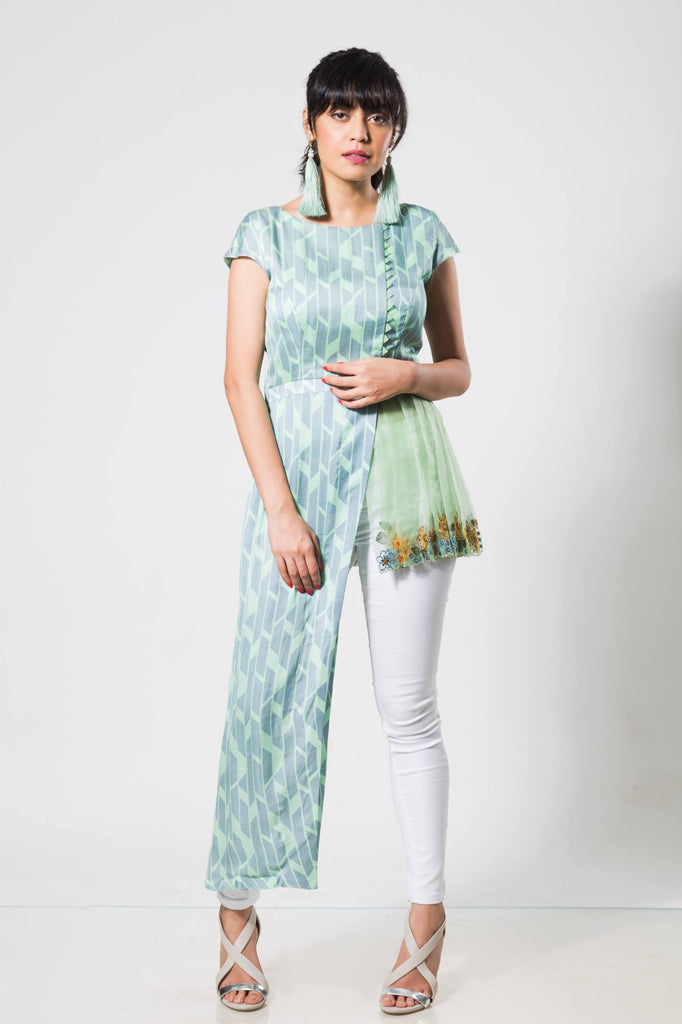 Turqoise Short-Long Kurta with Pleated Organza - The Ethnic Fix - Dubai - UAE