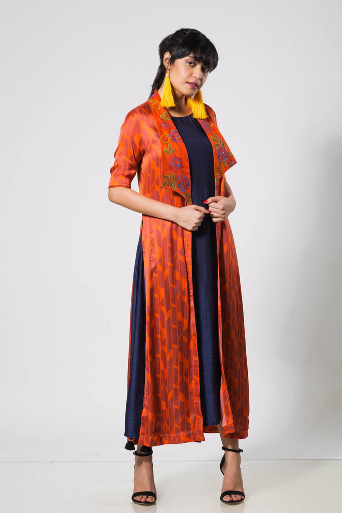 Red Long Lapel Jacket with a Navy Slip - The Ethnic Fix - Dubai - UAE