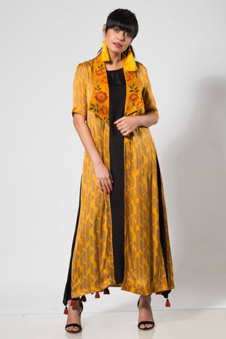 Yellow Long Lapel Jacket with a Black Slip - The Ethnic Fix - Dubai - UAE