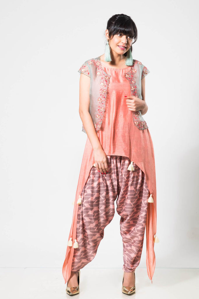 Grey Cut-work Jacket with an Asymetrical Peach Top and Dhoti - The Ethnic Fix - Dubai - UAE